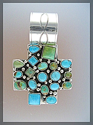 Pendant Rocki Gorman Green Blue Turquoise Cross