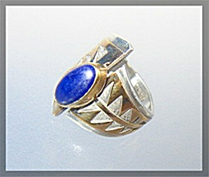 Ring Sterling Silver Gold Lapis R Signed JRED (Image1)