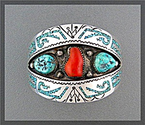 Native American B. James Turquoise Coral Cuff