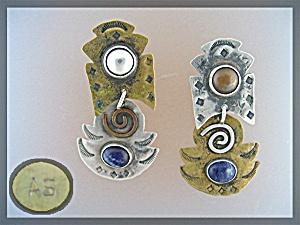 Sterling Silver Brass Lapis Dangle Pierced Earrings A.S (Image1)
