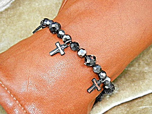 Black Faceted Cystals 6 Crystal Cross's Bracelet (Image1)
