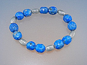 Spiritual Beads Lapis sterling Silver Bracelet (Image1)