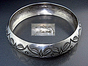 Native American Sterling Silver Bangle W. Tracy (Image1)