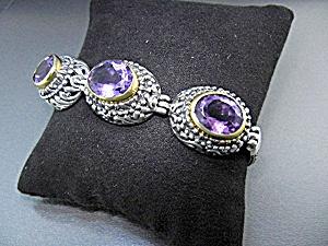 Amethysts Sterling Silver Toggle Bracelet (Image1)