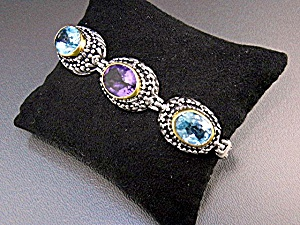 Amethyst Blue Topaz Sterling Silver Toggle Bracelet