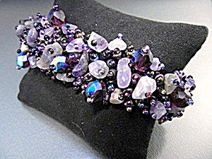 Amethyst Nuggets Irridescent Crystals Bracelet