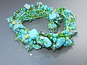 Turquoise Crystal Beads Bracelet Magnetic Clasp