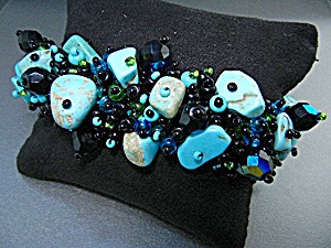 Turquoise Black Irridescent Crystals Bracelet
