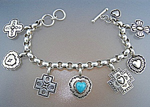 Native American El Tom Sterling Silver Charm Bracelet (Image1)