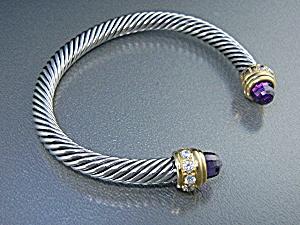 Amethyst Sterling Silver CZ Twist Cuff (Image1)