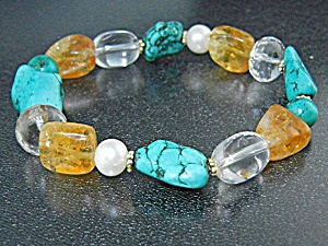 Freshwater Pearls Turquoise Citrine Crystal 3 Bracelets