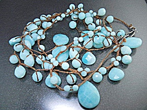 Sterling Silver Larimar Bib Necklace Chan Luu (Image1)