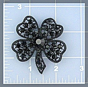 WEISS  Black Crystals Flower Brooch 50s (Image1)
