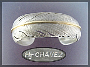 Native American H Chavez 14k Sterling Silver Feather Cu