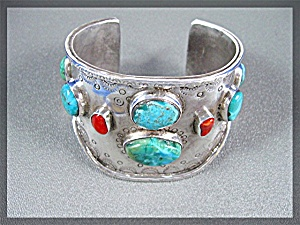 Native American Sterling Silver Coral Turquoise Cuff