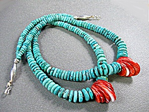 Santo Domingo Hand Crafted Turquoise Coral Necklace