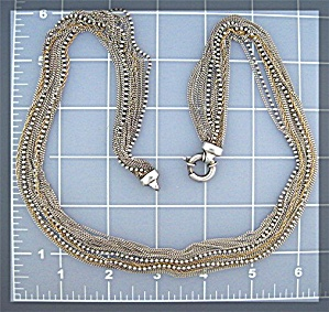 Sterling Silver  Gold 16 Strand Necklace (Image1)