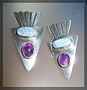 Opal Amethyst Sterling Silver Signed  MIKE SMITH Earrin (Image1)
