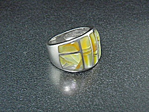 Sterling Silver Gold Lip And Opal Studio Gl Ring