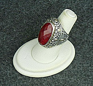 18K Gold Sterling Silver Ruby Ring Samuel Benham (Image1)
