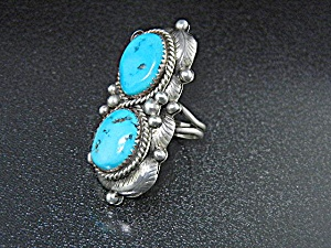 Navajo Sterling Silver Sleeping Beauty Turquoise Ring