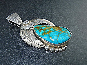 Navajo Sterling Silver Pilot Mountain Turquoise Pendant