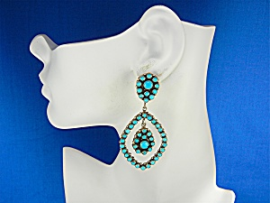 Navajo Sterling Silver Sleeping Beauty Turquoise Ears