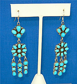 Navajo Sleeping Beauty Turquoise Sterling Silver Earri