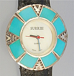 Surrisi Sterling Silverturquoise Mother Of Pearl Watch
