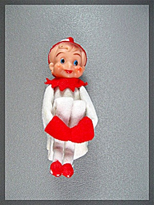 Christmas Ornament Christmas Pixie With Rubber Facevint