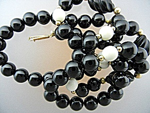 Gold Onyx Pre Ban Ivory Necklace