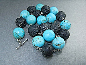 Lava Chinese Turquoise Sterling Silver Necklace (Image1)