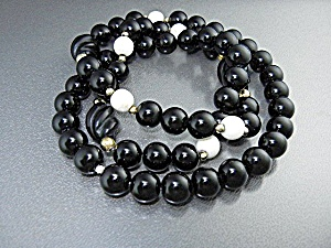 Gold Onyx Pre Ban Ivory Bead Necklace
