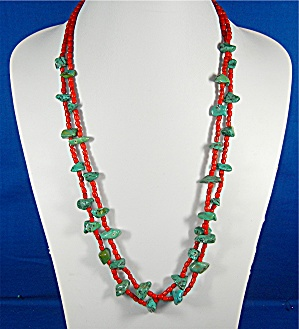 Navajo Coral And Turquoise 2 Strands Sterling Points