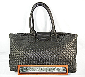 Bag Tote Black Woven Leather DONALD PLINER (Image1)