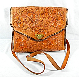 Bag Tan Hand Tooled Leather Vintage Mexican Joan