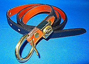 Belt Black Tan Leather Dooney Bourke Brass Buckle (Image1)