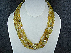 Gold Opals Sterling Silver 5 Strand Necklace (Image1)
