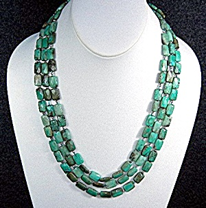 Turquoise African Faceted Beads 3 Strand Necklace