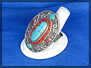 Silver Coral Turquoise Antique Ring From Nepal (Image1)