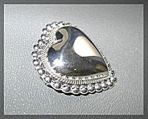 Sterling Silver Heart Brooch Pendant Mexico C 926 (Image1)