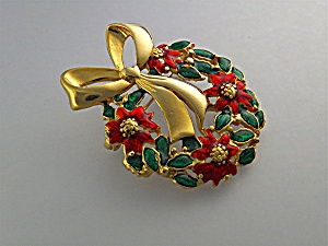 Brooch Pin Christmas Gold Enamel Poinsettia Wreath USA (Image1)