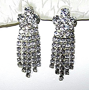 Silver Rhodium Crystal Chandelier Clip Earrings (Image1)