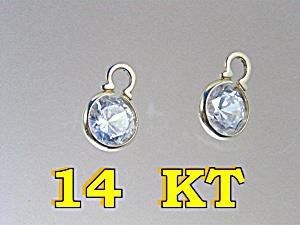 Earring 14K Yellow Gold Crystal Ear Pendant Drops. (Image1)