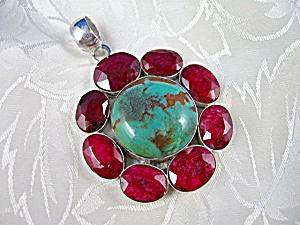 Ruby Turquise Sterling Silver Pendant