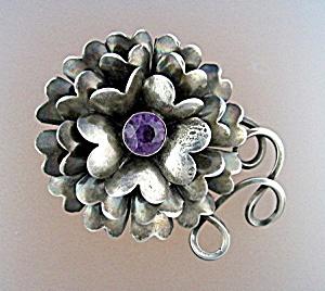 HOBE Sterling Silver Amethyst Flower Brooch (Image1)