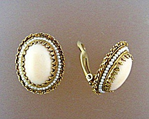 Earrings 14K Gold Angelskin Coral and  Seed Pearl Clip  (Image1)