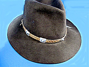 Sterling Silver Turquoise Snake Leather Hat Band (Image1)