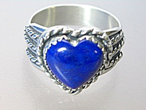 Sterling Silver Lapis Heart Ring Signed