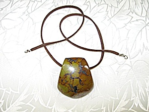 Agate Moss Green Pendant Suede Leather Necklace